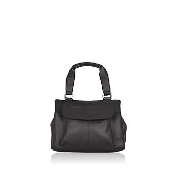 Emma Triple Section Leather Grab Bag in Black