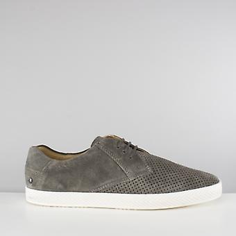 Base London Keel Mens Perforated Suede Casual Shoes Grey