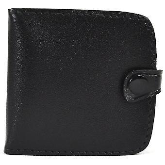 Real Leather Pocket Sized argent Plateau Bourse avec des notes Slots (Black)