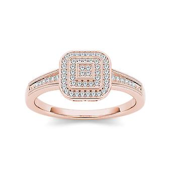 IGI Certified Solid 10k RoseGold 0.14 Ct Round Cut Diamond Halo Engagement Ring