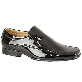 Goor Sylvester Mens Faux Patent Leather Loafers Black
