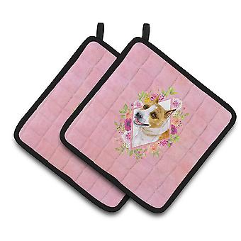 Carolines Treasures  CK4114PTHD Bull Terrier Pink Flowers Pair of Pot Holders