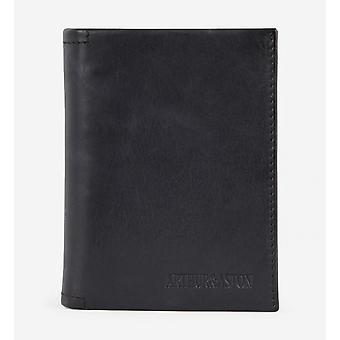A/schwarze Brieftasche - Leder - Rabat