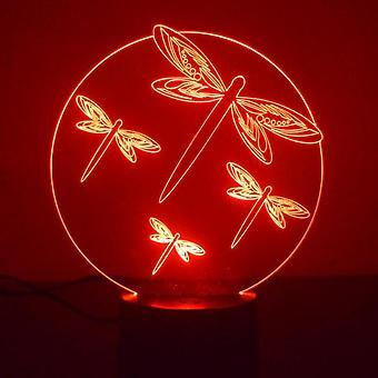 Libellule cercle couleur acrylique LED lumière changeante