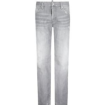 DSQUARED2 Cotton Slim Fit Distressed Grey Jeans