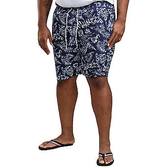Duke D555 Mens Florida Big Tall Leaf Print Beach Swim Swimming Shorts - Navy