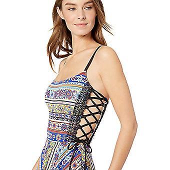 Anne Cole Studio Frauen's Schnürsenkel Sexy Badekleid, Fliesen Tease Multi Farbe, 4