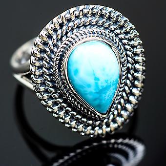لاريمار رينغ الحجم 8.25 (925 الجنيه الاسترليني الفضة) -- اليدوية بوهو خمر مجوهرات RING992059