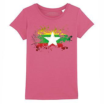 STUFF4 Girl's Round Neck T-Shirt/Burma/Burmese Flag Splat/Dark Pink
