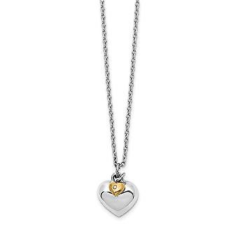 925 Sterling Silver White Ice Diamond 14k Gold Plated Double Love Heart With 2in Ext Necklace Jewelry Gifts for Women -