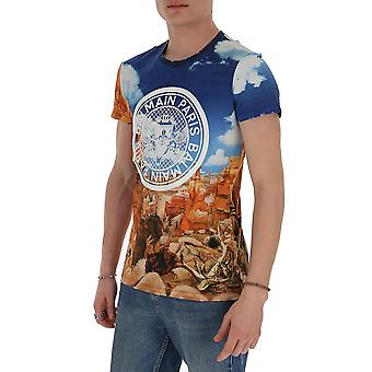 Balmain Th11601i241aaA Mænd's Multicolor Bomuld T-shirt