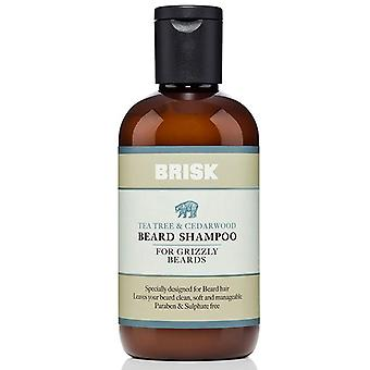 Brisk beard shampoo, tea tree and cedarwood, 5.1 oz