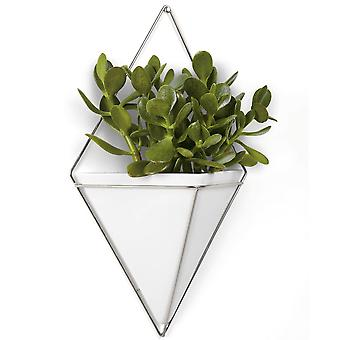 Umbra Trigg Large Wall Vessel, White & Nickel