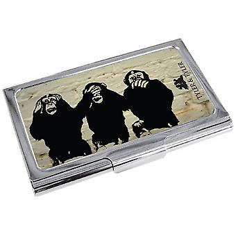Tyler a Tyler White Brick tři moudrá opice držitel vizitky-smetana/černá/stříbrná