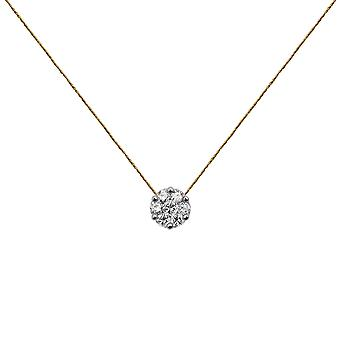 Choker Flower Cluster 18K Gold and Diamonds, on Thread - White Gold, Champagne