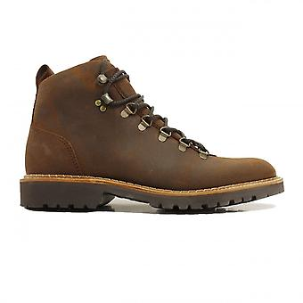 Barker Glencoe Brown Waxed Suede Leather Mens Hiking Style Lace Ankle Boots
