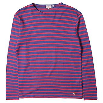 Armor Lux Long Sleeve Blue & Red Stripe T-Shirt
