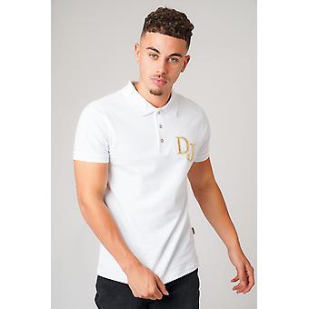 Dj print witte polo t-shirt
