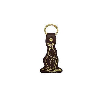 Jacaru 6408 svart nyckelring, kängurutryckt, läder