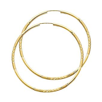 14k Yellow Gold 2mm Budded Sparkle Cut Endless Hoop 50mm Earrings Jewelry Gifts for Women