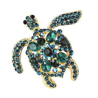 TJC Green Glass Turtle Brooch for Women Multi Color Crystal