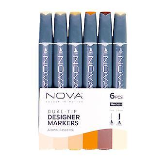 Trimcraft Nova Sketch Markers Neutrals (6pcs) (NOV004)