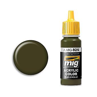 Ammo by Mig Acrylic Paint - A.MIG-0925 Olive Drab  Dark Base (17ml)