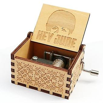Hey Jude Carved 18 Note Wooden Music Box