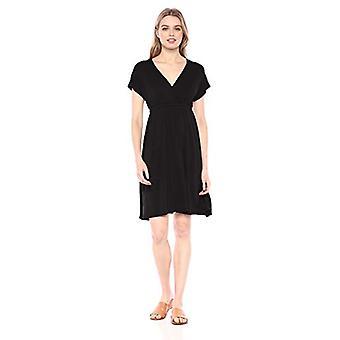 Essentials Women's Solid Surplice Dress, Black, M