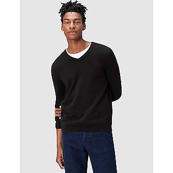 finde. Mænd's Cotton V-Neck Sweater, Sort, XL (US L - XL)