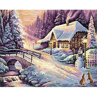 Winter Scenery Painting By Numbers Handpainted Christmas Landscape Kit