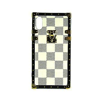 Carcasa telefonului Eye-Trunk Checkered Square pentru iPhone XS (Alb)