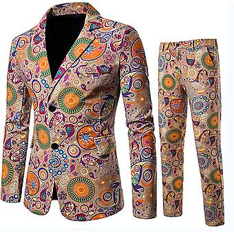 Heren's 2 Piece Suits 2 Buttons Slim Fit Printed Notched Revers Floral Blazer Vest Pants Sets