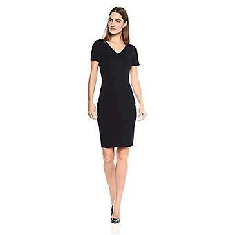 Lark & Ro Women's Short Sleeve V-Neck Sheath Sweater Dress, Navy, Large