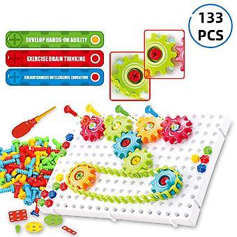 Kids Assembly Gear Chain Legetøj 3d Puzzle Building Kits Baby Education Legetøj til børn