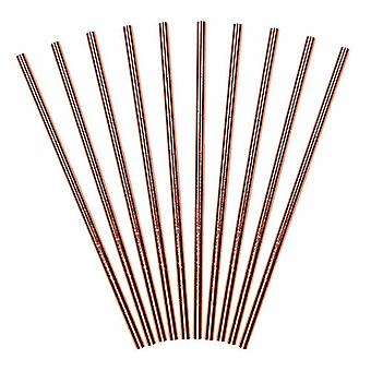 Rose Gold Paper Straws x 10 - Party Supplies