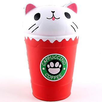 Squish Antistress Slow Rising Jumbo Scented Cappuccino Coffee Cup Cat Funny
