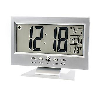 TRIXES Alarm Clock Batterie Powered Room Clock Argent avec veille