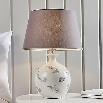 Table Lamp Light Grey Crackle Glaze & Charcoal Grey Cotton 1 Light IP20 - E27