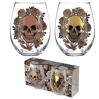 Puckator Skulls and Roses Set of 2 Glass Tumblers