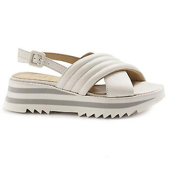 Luca Grossi White Leather Sandal with Low Wedge