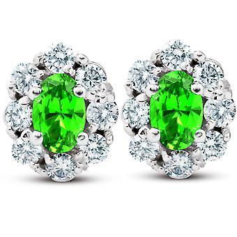 3 Ct Peridot & Diamond Halo Szpilki 14k Białe złoto