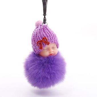 Sleeping Baby Doll Sleutelhanger, Flower Pompom, Rabbit Fur Ball, Fluffy Car