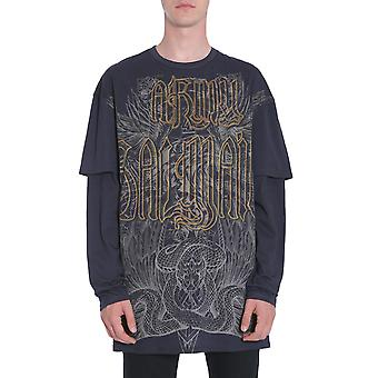 Balmain W7h8062i062176 Men's Black Cotton T-shirt