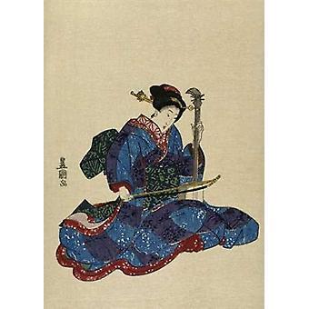 Shamisen jeg Poster trykk av det kjente Toyokuni