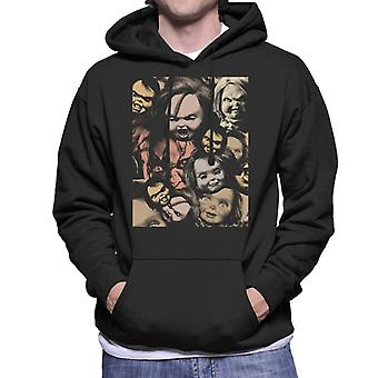 Chucky Scary Face Montage Men's Hooded Sweatshirt