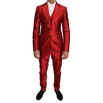 Rød silke slank passform 3 stykke to knappedress