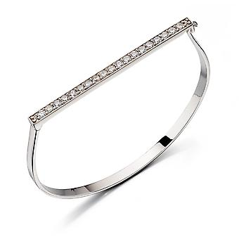 Fiorelli Silver Womens 925 Sterling Silver Pave Cubic Zirconia Gångjärn armring Armband