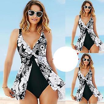 ملابس السباحة الجديدة بالإضافة إلى تنورة مثير عميق V طباعة الطيور خمر ملابس السباحة الشاطئ