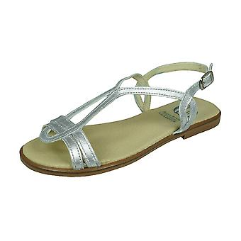 Angela Brown Chloe Girls Leather Strappy Sandals - Argent